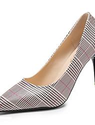 Недорогие -Обувь Полиуретан Весна Осень Удобная обувь Обувь на каблуках Высокий каблук Заостренный носок для Повседневные Черный Черный/Красный