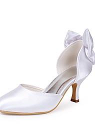 preiswerte -Damen Schuhe Seide Frühling Sommer Pumps Hochzeit Schuhe Niedriger Heel Geschlossene Spitze Schleife für Hochzeit Party & Festivität Weiß