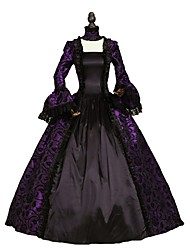 cheap -Victorian Rococo Costume Women's Adults' Dress Purple Vintage Cosplay Flocked Long Sleeves Bell Ankle Length