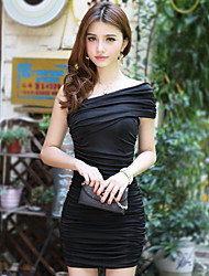 cheap -Women's Holiday Club Casual Bodycon Dress,Solid Boat Neck Above Knee Sleeveless Polyester Summer High Rise Stretchy Thin