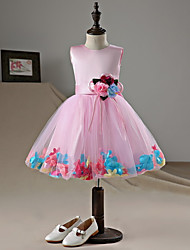 cheap -A-Line Knee Length Flower Girl Dress - Satin Tulle Sleeveless Jewel Neck with Bow(s) Flower(s) by LAN TING BRIDE®