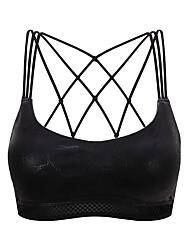 abordables -Strappy Sujetadores de Deporte Acolchado Sujeción Ligera Para Yoga - Negro / Gris oscuro Eslático Mujer Nailon