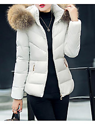 cheap -Women's Padded Coat,Cute Daily Solid-Cotton Polyester Long Sleeve