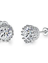 baratos -Mulheres Adorável Cristal Brincos Curtos / Com caixa de presente - Fashion Prata Formato Circular Brincos Para Casamento / Diário