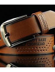 cheap -Men's Vintage Work Leather Alloy Waist Belt - Solid Colored