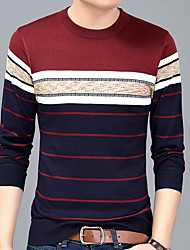 cheap -Men's Basic T-shirt - Striped Round Neck / Long Sleeve