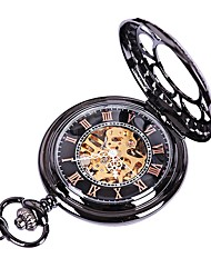 cheap -Couple's Quartz Pocket Watch Skeleton Watch Chinese Hollow Engraving Casual Watch Alloy Band Luxury Casual Skull Black