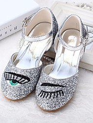 cheap -Girls' Shoes Leatherette Spring Fall Tiny Heels for Teens Flower Girl Shoes Heels for Casual Silver