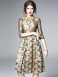 cheap -Women's Sophisticated Street chic A Line Sheath Swing Dress - Color Block, Lace Mesh Shirt Collar