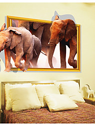 cheap -Animals 3D Wall Stickers 3D Wall Stickers Decorative Wall Stickers, Paper Home Decoration Wall Decal Floor Wall