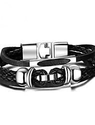 Недорогие -Муж. Браслеты-цепочки и звенья , Мода Кожа Сплав Геометрической формы Бижутерия Подарок Повседневные Бижутерия Черный