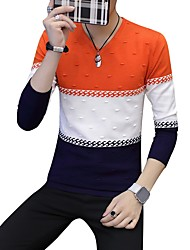 cheap -Men's Daily Casual Color Block V Neck Sweater Pullover, Long Sleeves Winter Fall Polyester