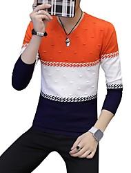 preiswerte -Herrn Einfarbig Alltag Freizeit Pullover Pullover Langarm V-Ausschnitt Winter Herbst Polyester