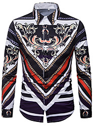 cheap -Men's Daily Going out Casual Spring Fall Shirt Shirt Collar Long Sleeves Polyester
