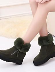 Недорогие -Для женщин Обувь Полиуретан Зима Осень Удобная обувь Ботинки Плоские Закрытый мыс Сапоги до середины икры для Повседневные Черный