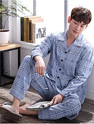 cheap -Men's Notch Lapel Suits Pajamas Plaid