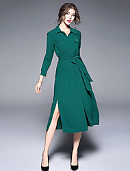 cheap -Women's Daily Going out Vintage Loose Dress,Solid Shirt Collar Midi Long Sleeve Polyester Fall High Rise Micro-elastic Thin