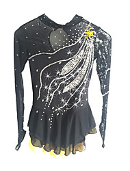 abordables -Vestido de patinaje artístico Mujer / Chica Patinaje Sobre Hielo Vestidos Negro Licra Ropa de Patinaje Lentejuela Manga Larga Patinaje