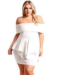 cheap -Women's Bodycon Dress - Solid High Waist Boat Neck