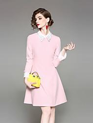 cheap -EWUS Women's Street chic A Line Sheath Dress - Solid Colored, Beaded Shirt Collar