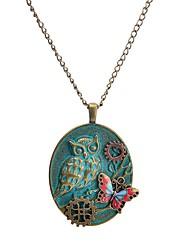 Недорогие -Жен. Ожерелья с подвесками - Бабочка, Шестерня европейский, Steampunk Зеленый павлин Ожерелье Назначение Повседневные, Свидание