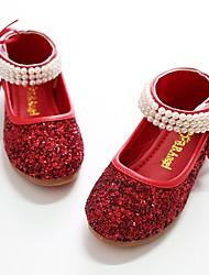 baratos -Para Meninas sapatos Paetês Primavera Outono Sapatos para Daminhas de Honra Bailarina Rasos Pérolas Sintéticas Velcro para Festas & Noite