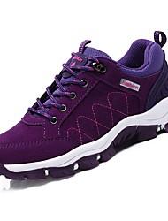 abordables -Femme Chaussures Daim Printemps Automne Confort Chaussures d'Athlétisme Randonnée Talon Plat Bout rond pour Athlétique Noir Violet Fuchsia