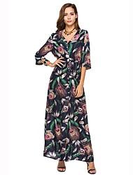abordables -Mujer Playa Boho Corte Ancho Vestido Estampado Alta cintura Maxi Escote en Pico