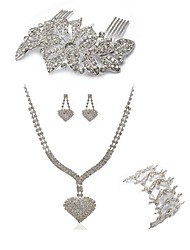 Недорогие -Жен. Гребни Свадебные комплекты ювелирных изделий Стразы европейский Мода Свадьба Для вечеринок Искусственный бриллиант Сплав Сердце