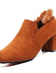 cheap -Women's Shoes PU Suede Spring Fall Comfort Heels Chunky Heel Square Toe for Casual Orange Black