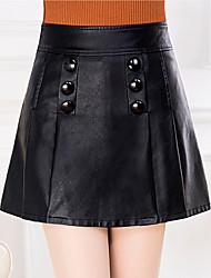 preiswerte -Damen Freizeit Alltag Mini Röcke A-Linie, Seide Solide Winter