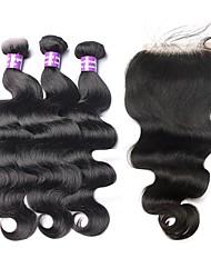 abordables -3 paquets avec fermeture Cheveux Malaisiens Ondulation naturelle 10A Cheveux Vierges Naturel Trame cheveux avec fermeture Tissages de cheveux humains Extensions de cheveux Naturel humains