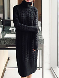 cheap -Women's Daily Casual Sweater Dress,Solid Turtleneck Midi Long Sleeve Cotton Winter Fall Medium Waist Micro-elastic Opaque