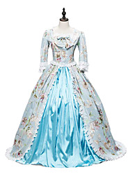 cheap -Rococo / Victorian Costume Women's Outfits Print Vintage Cosplay Cotton Fabric 3/4 Length Sleeve Puff / Balloon Sleeve Halloween Costumes / Floral
