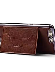 Недорогие -Кейс для Назначение Huawei P10 Plus P10 Бумажник для карт со стендом Кейс на заднюю панель Сплошной цвет Твердый Кожа PU для P10 Plus P10