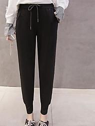 baratos -Mulheres Casual Cintura Média Micro-Elástica Chinos Calças,Sólido Fibra Sintética Elastano Inverno Outono