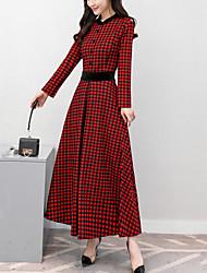 economico -Swing Vestito Da donna-Feste Per uscire Moda città A scacchi Collage Rotonda Medio Maniche lunghe Cotone Poliestere Primavera A vita
