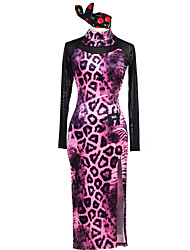 abordables -Danse latine Robes Femme Utilisation Spandex Élastique Chinlon Tulle Motif / Impression Manches Longues Taille moyenne Robe