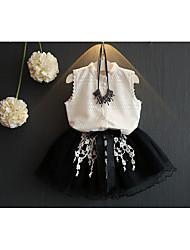 abordables -Ensemble de Vêtements Fille Quotidien Couleur Pleine Coton Fibre de bambou Printemps Sans Manches Décontracté Blanc