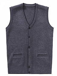 cheap -Men's Sleeveless Vest - Solid Color V Neck