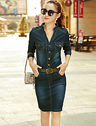 cheap -Women's Work Sophisticated Street chic Sheath Denim Dress - Solid Colored Stand