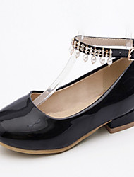 abordables -Femme Chaussures Similicuir Printemps Automne Nouveauté Confort Ballerines Talon Plat Bout rond Imitation Perle pour Habillé Blanc Noir