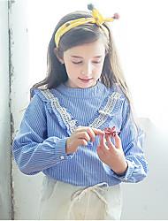 cheap -Girls' Print Shirt,Polyester All Seasons Long Sleeve Vintage Blue