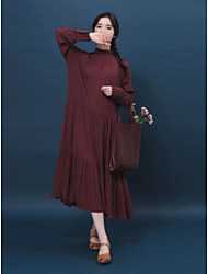 baratos -Mulheres Algodão balanço Vestido Sólido Colarinho Chinês Longo