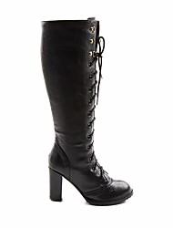 cheap -Women's PU(Polyurethane) Spring / Fall Comfort / Fashion Boots Boots Chunky Heel Knee High Boots Black / Camel