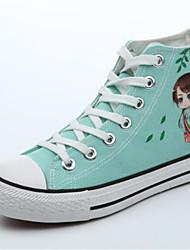 preiswerte -Damen Schuhe Leinwand Sommer Komfort Sneakers Flacher Absatz Geschlossene Spitze Booties / Stiefeletten Schwarz / Purpur / Grün
