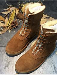 preiswerte -Damen Schuhe Echtes Leder Pelz Winter Herbst Komfort Schneestiefel Stiefel Flacher Absatz Mittelhohe Stiefel für Normal Schwarz Braun