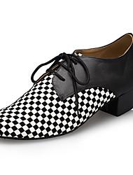 "cheap -Men's Latin Leather Sneaker Training Trim Low Heel Black/White 1"" - 1 3/4"" Customizable"