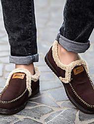 男性の靴フリース冬の快適な履き物&アウトドアブルーブラウンブラックのスリップオン