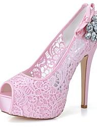 preiswerte -Damen Schuhe Tüll Frühling Sommer Pumps Hochzeit Schuhe Stöckelabsatz Peep Toe Strass für Hochzeit Party & Festivität Weiß Rosa